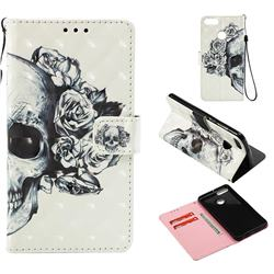 Skull Flower 3D Painted Leather Wallet Case for Huawei Y9 (2018)