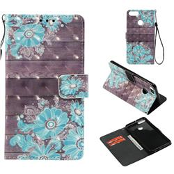 Blue Flower 3D Painted Leather Wallet Case for Huawei Y9 (2018)