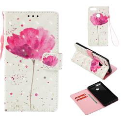 Watercolor 3D Painted Leather Wallet Case for Huawei Y9 (2018)