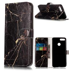Black Gold Marble PU Leather Wallet Case for Huawei Y9 (2018)