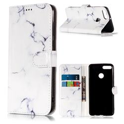 Soft White Marble PU Leather Wallet Case for Huawei Y9 (2018)