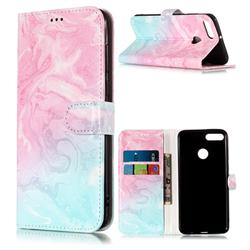 Pink Green Marble PU Leather Wallet Case for Huawei Y9 (2018)