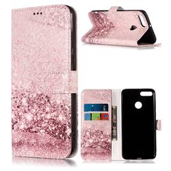 Glittering Rose Gold PU Leather Wallet Case for Huawei Y9 (2018)
