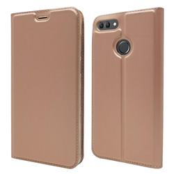 Ultra Slim Card Magnetic Automatic Suction Leather Wallet Case for Huawei Y9 (2018) - Rose Gold