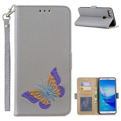 Imprint Embossing Butterfly Leather Wallet Case for Huawei Y9 (2018) - Grey
