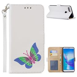 Imprint Embossing Butterfly Leather Wallet Case for Huawei Y9 (2018) - White