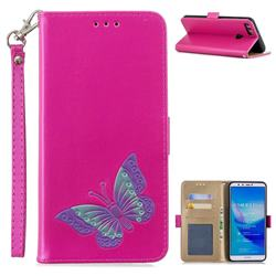 Imprint Embossing Butterfly Leather Wallet Case for Huawei Y9 (2018) - Rose Red