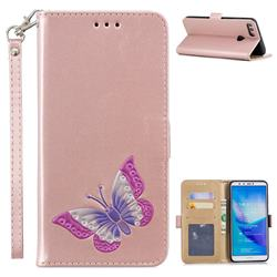Imprint Embossing Butterfly Leather Wallet Case for Huawei Y9 (2018) - Rose Gold