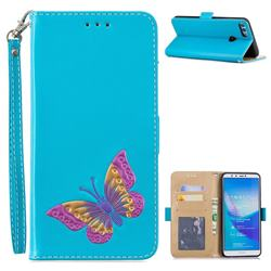Imprint Embossing Butterfly Leather Wallet Case for Huawei Y9 (2018) - Sky Blue