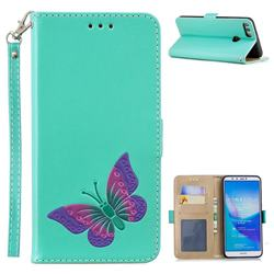 Imprint Embossing Butterfly Leather Wallet Case for Huawei Y9 (2018) - Mint Green