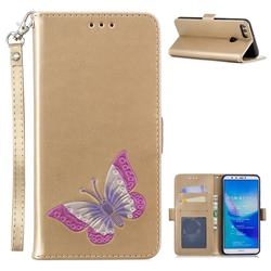 Imprint Embossing Butterfly Leather Wallet Case for Huawei Y9 (2018) - Golden