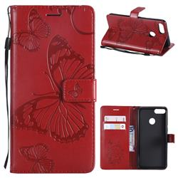Embossing 3D Butterfly Leather Wallet Case for Huawei Y9 (2018) - Red