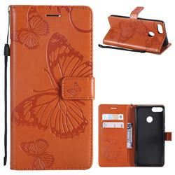Embossing 3D Butterfly Leather Wallet Case for Huawei Y9 (2018) - Orange