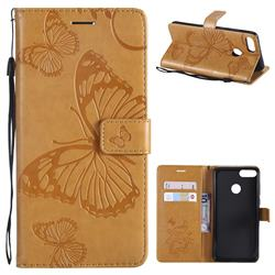 Embossing 3D Butterfly Leather Wallet Case for Huawei Y9 (2018) - Yellow