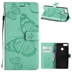 Embossing 3D Butterfly Leather Wallet Case for Huawei Y9 (2018) - Green
