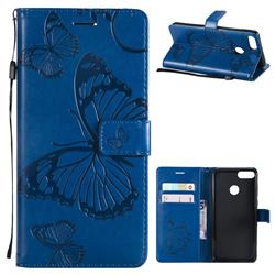 Embossing 3D Butterfly Leather Wallet Case for Huawei Y9 (2018) - Blue