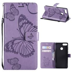 Embossing 3D Butterfly Leather Wallet Case for Huawei Y9 (2018) - Purple
