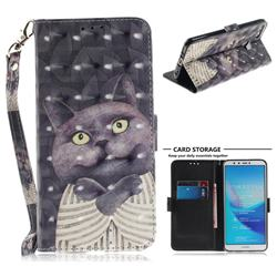 Cat Embrace 3D Painted Leather Wallet Phone Case for Huawei Y9 (2018)