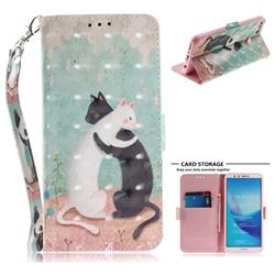 Black and White Cat 3D Painted Leather Wallet Phone Case for Huawei Y9 (2018)