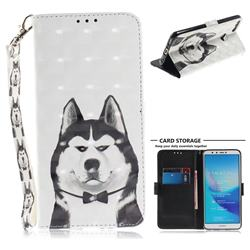 Husky Dog 3D Painted Leather Wallet Phone Case for Huawei Y9 (2018)