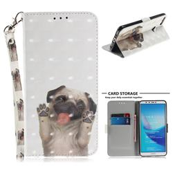 Pug Dog 3D Painted Leather Wallet Phone Case for Huawei Y9 (2018)