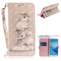 Three Squirrels 3D Painted Leather Wallet Phone Case for Huawei Y9 (2018)