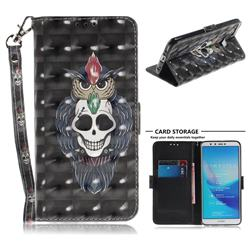 Skull Cat 3D Painted Leather Wallet Phone Case for Huawei Y9 (2018)