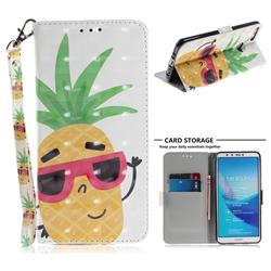 Pineapple Glasses 3D Painted Leather Wallet Phone Case for Huawei Y9 (2018)