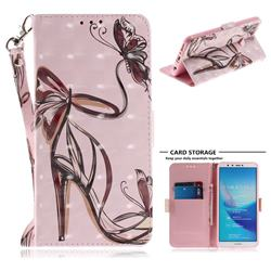 Butterfly High Heels 3D Painted Leather Wallet Phone Case for Huawei Y9 (2018)