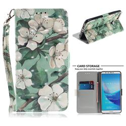 Watercolor Flower 3D Painted Leather Wallet Phone Case for Huawei Y9 (2018)