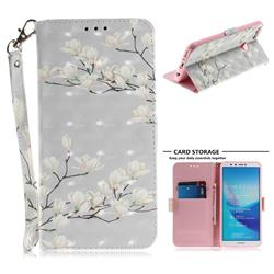 Magnolia Flower 3D Painted Leather Wallet Phone Case for Huawei Y9 (2018)