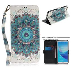 Peacock Mandala 3D Painted Leather Wallet Phone Case for Huawei Y9 (2018)