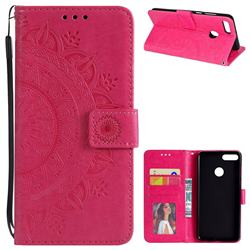 Intricate Embossing Datura Leather Wallet Case for Huawei Y9 (2018) - Rose Red