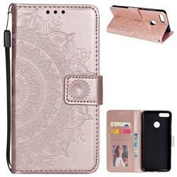 Intricate Embossing Datura Leather Wallet Case for Huawei Y9 (2018) - Rose Gold