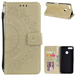 Intricate Embossing Datura Leather Wallet Case for Huawei Y9 (2018) - Golden