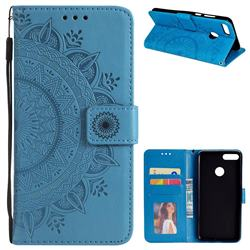 Intricate Embossing Datura Leather Wallet Case for Huawei Y9 (2018) - Blue