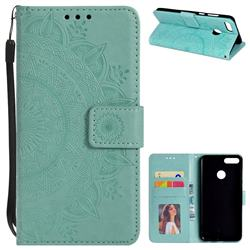 Intricate Embossing Datura Leather Wallet Case for Huawei Y9 (2018) - Mint Green