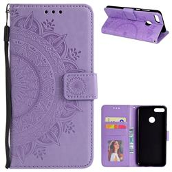 Intricate Embossing Datura Leather Wallet Case for Huawei Y9 (2018) - Purple