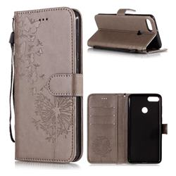 Intricate Embossing Dandelion Butterfly Leather Wallet Case for Huawei Y9 (2018) - Gray