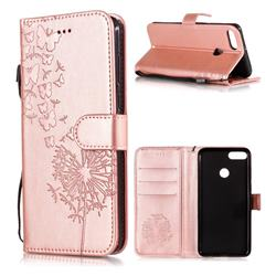 Intricate Embossing Dandelion Butterfly Leather Wallet Case for Huawei Y9 (2018) - Rose Gold