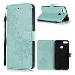 Intricate Embossing Dandelion Butterfly Leather Wallet Case for Huawei Y9 (2018) - Green