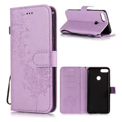 Intricate Embossing Dandelion Butterfly Leather Wallet Case for Huawei Y9 (2018) - Purple