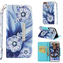 Button Flower Big Metal Buckle PU Leather Wallet Phone Case for Huawei Y9 (2018)