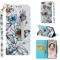 Fotus Flower Big Metal Buckle PU Leather Wallet Phone Case for Huawei Y9 (2018)