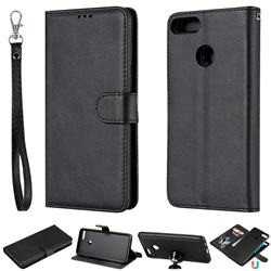Retro Greek Detachable Magnetic PU Leather Wallet Phone Case for Huawei Y9 (2018) - Black