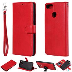 Retro Greek Detachable Magnetic PU Leather Wallet Phone Case for Huawei Y9 (2018) - Red