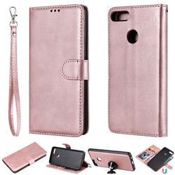 Retro Greek Detachable Magnetic PU Leather Wallet Phone Case for Huawei Y9 (2018) - Rose Gold