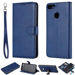 Retro Greek Detachable Magnetic PU Leather Wallet Phone Case for Huawei Y9 (2018) - Blue