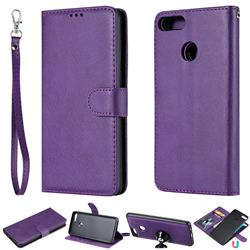 Retro Greek Detachable Magnetic PU Leather Wallet Phone Case for Huawei Y9 (2018) - Purple