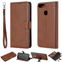 Retro Greek Detachable Magnetic PU Leather Wallet Phone Case for Huawei Y9 (2018) - Brown
